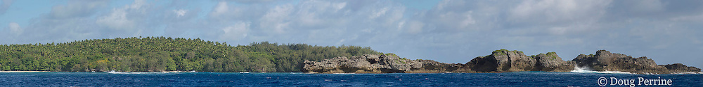 island just south of Hunga Island, Vavau, Tonga, South Pacific; panorama created by merging eight images