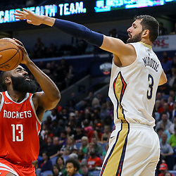 Mar 17, 2018; New Orleans, LA, USA; Houston Rockets guard James Harden (13) is defended by New Orleans Pelicans forward Nikola Mirotic (3) during the first quarter at the Smoothie King Center. Mandatory Credit: Derick E. Hingle-USA TODAY Sports