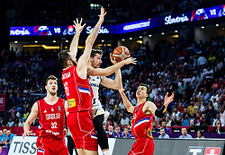 Milan Macvan of Serbia vs Goran Dragic of Slovenia during the Final basketball match between National Teams  Slovenia and Serbia at Day 18 of the FIBA EuroBasket 2017 at Sinan Erdem Dome in Istanbul, Turkey on September 17, 2017. Photo by Vid Ponikvar / Sportida