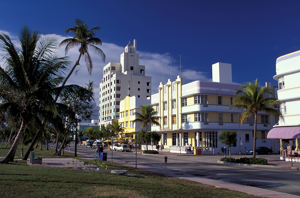 Art Deco Buildings, Ocean Drive, Miami Beach, Florida, USA