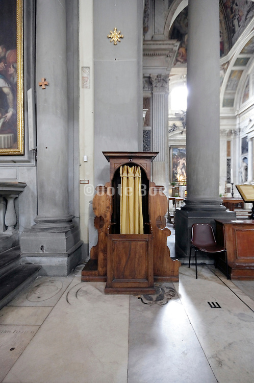 confessional in baroque style church Italy