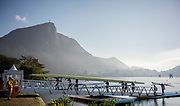 Rio de Janeiro. BRAZIL.  GBR W8+. Bow. Katie GREVES, Melanie  WILSON, Frances HOUGHTON, Polly  SWANN,  Jessica EDDIE,  Olivia CARNEGIE-BROWN, Karen BENNETT, Zoe LEE and  Zoe DE TOLEDO, returning from there training session.2016 Olympic Rowing Regatta. Lagoa Stadium,<br />