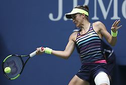 NEW YORK, Sept. 1, 2017  Nicole Gibbs of the United States hits a return during the women's singles second round match against Karolina Pliskova of the Czech Republic at the 2017 U.S. Open in New York, the United States, Aug. 31, 2017. Nicole Gibbs lost 1-2. (Credit Image: © Wang Ying/Xinhua via ZUMA Wire)