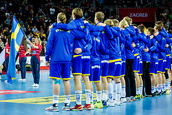 Swedish flag during handball match between National teams of Spain and Sweden in Final match of Men's EHF EURO 2018, on January 28, 2018 in Arena Zagreb, Zagreb, Croatia . Photo by Ziga Zupan / Sportida