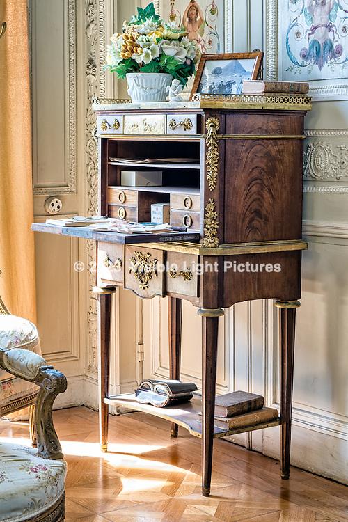 Antique furniture in a parlor room at the Rothchild Mansion, Villa Ephrussi de Rothschild, France