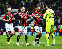 Adam Federici of Bournemouth celebrates with his team mates after the penalty shoot out - Mandatory byline: Matt McNulty/JMP - 07966386802 - 22/09/2015 - FOOTBALL - Deepdale Stadium -Preston,England - Preston North End v Bournemouth - Capital One Cup - Third Round