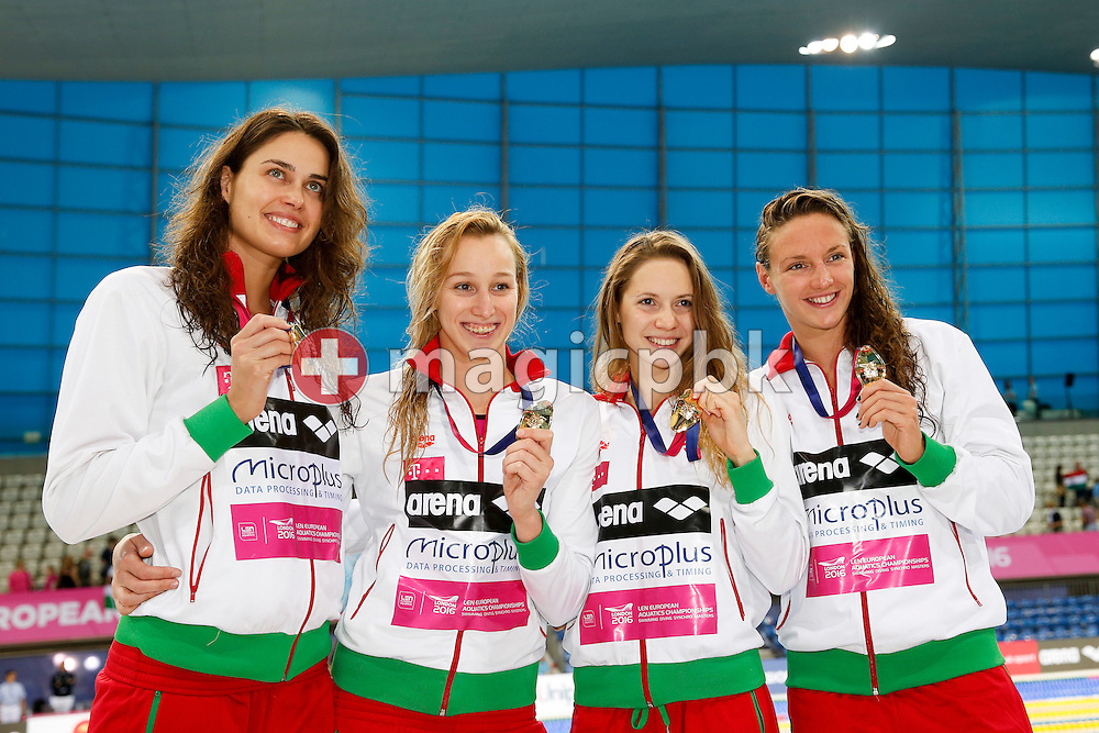 (L-R) Zsuzsanna Jakabos, Evelin Verraszto Boglarka Kapas and Katinka Hosszu of Hungary pose with their Gold medals after winning in the women's 4x200m Freestyle Relay Final during the LEN European Swimming Championships held at the London Aquatics Centre in London, Great Britain, Thursday, May 19, 2016. (Photo by Patrick B. Kraemer / MAGICPBK)