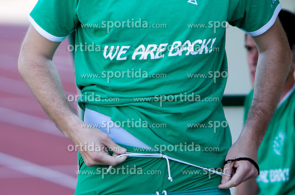 """Jersey of Olimpija with a sign """"We are back!"""" at final match of 2nd SNL league between NK Olimpija in NK Aluminij, on May 23, 2009, ZAK, Ljubljana, Slovenia. Aluminij won 2:1. NK Olimpija is a Champion of 2nd SNL and thus qualified to 1st Slovenian football league for season 2009/2010. (Photo by Vid Ponikvar / Sportida)"""