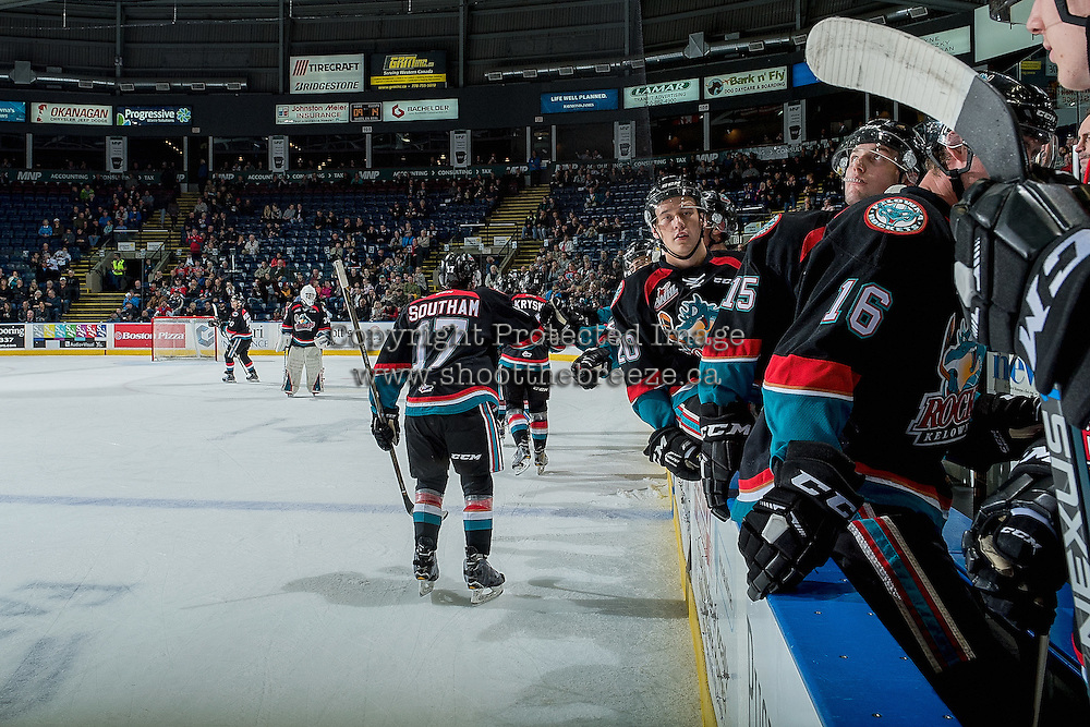 KELOWNA, CANADA - NOVEMBER 1: Rodney Southam #17 of the Kelowna Rockets celebrates a first period goal against the Kamloops Blazers on November 1, 2016 at Prospera Place in Kelowna, British Columbia, Canada.  (Photo by Marissa Baecker/Getty Images)  *** Local Caption ***