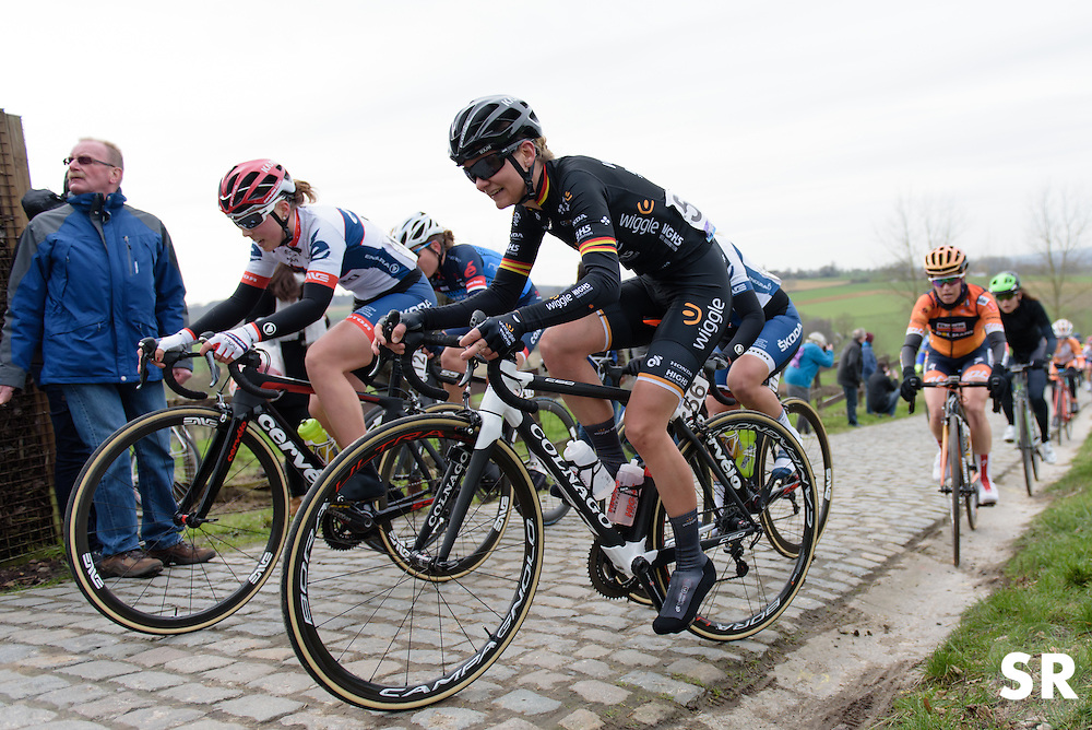 Claudia Lichtenberg and Lisa Klein battle up Paterberg at the 124.2 km Omloop Het Nieuwsblad - Elite Women on February 25th 2017, starting and finishing in Gent, Belgium. (Photo by Sean Robinson/Velofocus)
