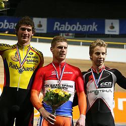 Podium NK sprint mannen. Kampioen Roy van den Berg, zilver Hugo Haak en brons Hylke van Grieken