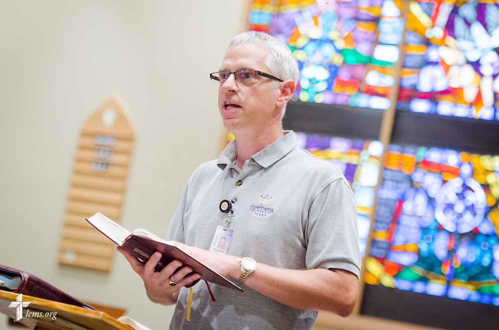 The Rev. Dr. Philip Schielke, assistant professor of Computer Science, leads chapel service at Concordia University Texas on Wednesday, July 16, 2014, in Austin, Texas. LCMS Communications/Erik M. Lunsford