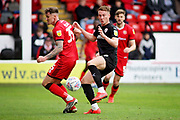 Barnsley forward Cauley Woodrow trying to get on the end of this chance in the box during the EFL Sky Bet League 1 match between Walsall and Barnsley at the Banks's Stadium, Walsall, England on 23 March 2019.
