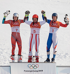 18.02.2018, Yongpyong Alpine Centre, Pyeongchang, KOR, PyeongChang 2018, Ski Alpin, Herren, Riesenslalom, Siegerpräsentation, im Bild v.l. Henrik Kristoffersen (NOR, 2. Platz), Marcel Hirscher (AUT, 1. Platz), Alexis Pinturault (FRA, 3. Platz) // f.l. silver medalist Henrik Kristoffersen of Norway gold medalist and Olympic champion Marcel Hirscher of Austria and bronce medalist Alexis Pinturault of France during the winner presentation of the men's Alpine Giant Slalom Race of the Pyeongchang 2018 Winter Olympic Games at the Yongpyong Alpine Centre in Pyeongchang, South Korea on 2018/02/18. EXPA Pictures © 2018, PhotoCredit: EXPA/ Johann Groder