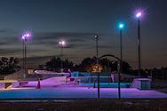USA,Midwest, Missouri, Kansas City, skateboard park at dusk