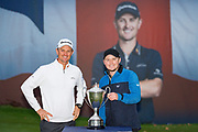 Justin Rose of England (left) and Eddie Pepperell of England with his trophy after winning the British Masters 2018 at Walton Heath Golf Course, Walton On the Hill, Surrey on 14 October 2018. Picture by Martin Cole.