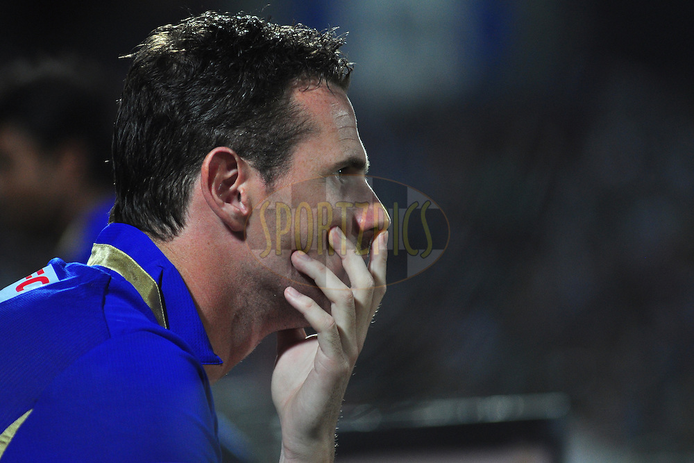 Rajasthan Royals Shaun Tait react during match 30 of the the Indian Premier League ( IPL) 2012  between The Rajasthan Royals and the Royal Challengers Bangalore held at the Sawai Mansingh Stadium in Jaipur on the 23rd April 2012..Photo by Arjun Panwar/IPL/SPORTZPICS