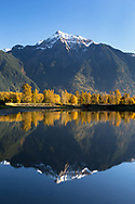 Reflection of Mount Cheam in the waters of Maria Slough at Seabird Island, Agassiz, British Columbia, Canada