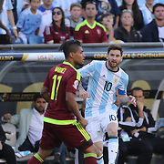 FOXBOROUGH, MASSACHUSETTS - JUNE 18:  Lionel Messi #10 of Argentina passes the ball for Gonzalo Higuain #9 of Argentina to score the fist goal during the Argentina Vs Venezuela Quarterfinal match of the Copa America Centenario USA 2016 Tournament at Gillette Stadium on June 18, 2016 in Foxborough, Massachusetts. (Photo by Tim Clayton/Corbis via Getty Images)
