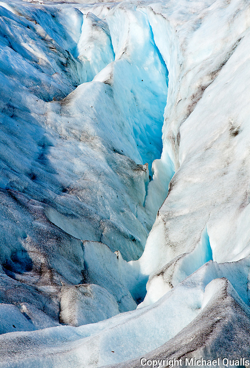 The toe of Exit Glacier.  Drive to the parking lot, walk along the trail and across the outflow - and it's melting!