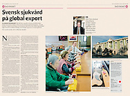 Article in Svenska Dagbladet, September 11, 2014, Sweden, about the global export of Swedish healthcare.