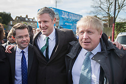 © Licensed to London News Pictures. 03/03/2016. London, UK.  Mayor of London Boris Johnson (R) joins Conservative candidate for Mayor Zac Goldsmith (C) on the campaign trail in Sidcup with local MP James Brokenshire. Photo credit: Peter Macdiarmid/LNP