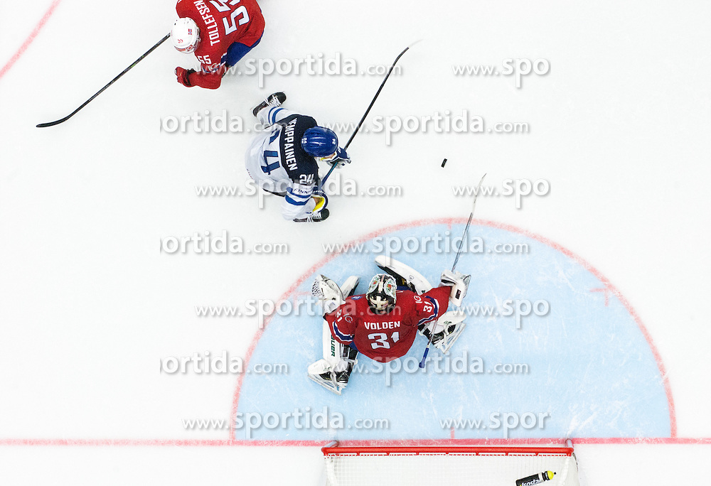 Joonas Kemppainen of Finland scores against Lars Volden of Norway during Ice Hockey match between Norway and Finland at Day 4 in Group B of 2015 IIHF World Championship, on May 4, 2015 in CEZ Arena, Ostrava, Czech Republic. Photo by Vid Ponikvar / Sportida