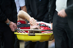 BRISTOL, ENGLAND - Saturday, August 7, 2010: Bristol City's Welsh striker Sam Vokes is carried off injured days before a Wales international match during the League Championship match against Millwall at Ashton Gate. (Pic by: David Rawcliffe/Propaganda)