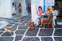Europe, Grece, Mer Egée, Cyclades, île de Mykonos, ville de Chora, café restaurant // The Chora (Hora), Mykonos island, Cyclades Islands, Greek Islands, Aegean Sea, Greece, Europe