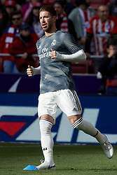 February 9, 2019 - Madrid, Madrid, Spain - Sergio Ramos of Real Madrid during the warm-up before the week 23 of La Liga between Atletico Madrid and Real Madrid at Wanda Metropolitano stadium on February 09 2019, in Madrid, Spain. (Credit Image: © Jose Breton/NurPhoto via ZUMA Press)