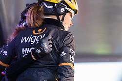 Arm in arm, Wiggle Hi5 are presented to the crowds - Le Samyn des Dames 2016, a 113km road race from Quaregnon to Dour, on March 2, 2016 in Hainaut, Belgium.