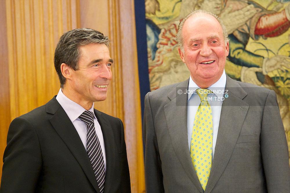Spanish King Juan Carlos I attends an Audience to Mr. Anders Fogh Rasmussen, Secretary General of NATO at Palacio de la Zarzuela in Madrid