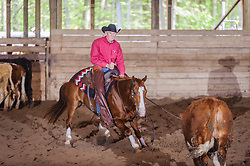May 20, 2017 - Minshall Farm Cutting 3, held at Minshall Farms, Hillsburgh Ontario. The event was put on by the Ontario Cutting Horse Association. Riding in the 35,000 Non-Pro Class is David Hamilton on Cat Powered owned by the rider.