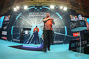 Mensur Suljovic takes to the stage during the BetVictor World Matchplay Darts 2018 final at Winter Gardens, Blackpool, United Kingdom on 29 July 2018. Picture by Shane Healey.