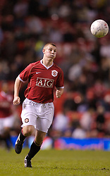 Manchester, England - Thursday, April 26, 2007: Manchester United's Scott Moffatt in action against Liverpool during the FA Youth Cup Final 2nd Leg at Old Trafford. (Pic by David Rawcliffe/Propaganda)