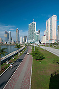Panoramic view of Cinta Costera bayside road. Panama city, Panama, Central America.
