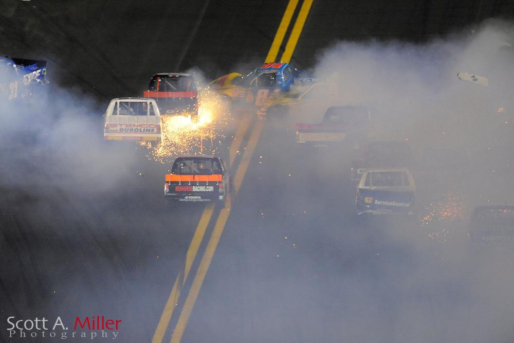 Wreck in latter stages of NextEra Enery 250 at the Daytona International Speedway on Feb. 18, 2011 in Daytona Beach, Fl...©2011 Scott A. Miller