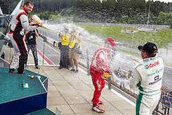 06.07.2013, Red Bull Ring, Spielberg, AUT, Truck Race Trophy, Renntag 1, im Bild Siegerehrung, Antonio Albacete, (ESP, Equipo Cepsa, #2, 1. Platz), Jochen Hahn, (GER, Castrol Team Hahn Racing, #1, 2. Platz), Norbert Kiss, (HUN, Oxxo Energy Truck Race Team, #10, 3. Platz) // during the Truck Race Trophy 2013 at the Red Bull Ring in Spielberg, Austria, 2013/07/06, EXPA Pictures © 2013, PhotoCredit: EXPA/ M.Kuhnke