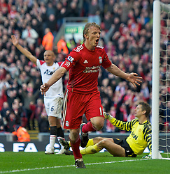 06.03.2011, Anfield Road, Liverpool, ENG, PL, Liverpool FC vs Manchester United, im Bild Liverpool's Dirk Kuyt celebrates scoring his and his side's third goal against Manchester United during the Premiership match at Anfield<br /> <br /> ***NETHERLANDS ONLY***