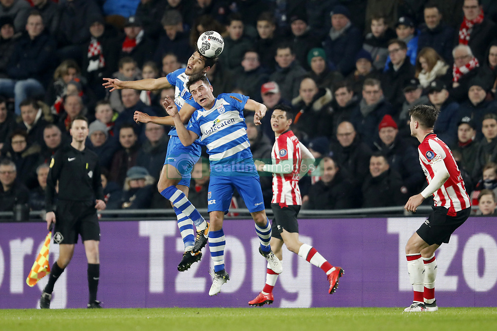 (L-R) Nicolas Freire of PEC Zwolle, Erik Bakker of PEC Zwolle, Hirving Lozano of PSV, Marco van Ginkel of PSV during the Dutch Eredivisie match between PSV Eindhoven and PEC Zwolle at the Phillips stadium on February 03, 2018 in Eindhoven, The Netherlands
