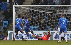 Jonathan Bond of Peterborough United keeps out an effort from Josh Parker of Gillingham - Mandatory by-line: Joe Dent/JMP - 10/02/2018 - FOOTBALL - MEMS Priestfield Stadium - Gillingham, England - Gillingham v Peterborough United - Sky Bet League One