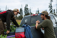 LIVING OFF THE GRID<br /> The summer interns Rachel Burke and Josh Jasso from Tuscon, AZ.<br /> Anchor Point, Alaska, USA