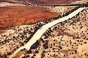 Cooper river basin, aerial view, billabong near 1860/61 Burke & Wills 'Dig Tree', Queensland border en route Birdsville, Australia.