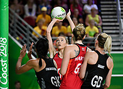11th April 2018, Gold Coast Convention and Exhibition Centre, Gold Coast, Australia; Commonwealth Games day 7; Netball, England versus New Zealand; Helen Housby of England lines up a shot at goal