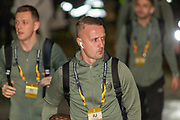 Leigh Griffiths (#9) arrives at Parkhead ahead of the Europa League match between Celtic and FC Copenhagen at Celtic Park, Glasgow, Scotland on 27 February 2020.