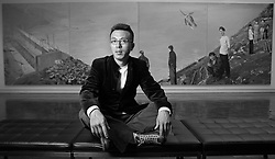 Artist Liu Xiaodong has created  9 foot by 300 foot paintings  about China's controversial Three Gorges Dam, now on display at the Asian Art Museum in San Francisco, CA. <br /> Photo by Kim Kulish