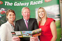 11/07/2012. .Sinead Cassidy, g Hotel with Galway Race Course Manager John Moloney  and Aisling Fennin Ladbrokes at the 2012 Galway Races Summer Festival, official launch  in the g Hotel, Galway. The seven day festival runs from Monday 30th July to Sunday 5th August. Photo:Andrew Downes. (first use repro free).