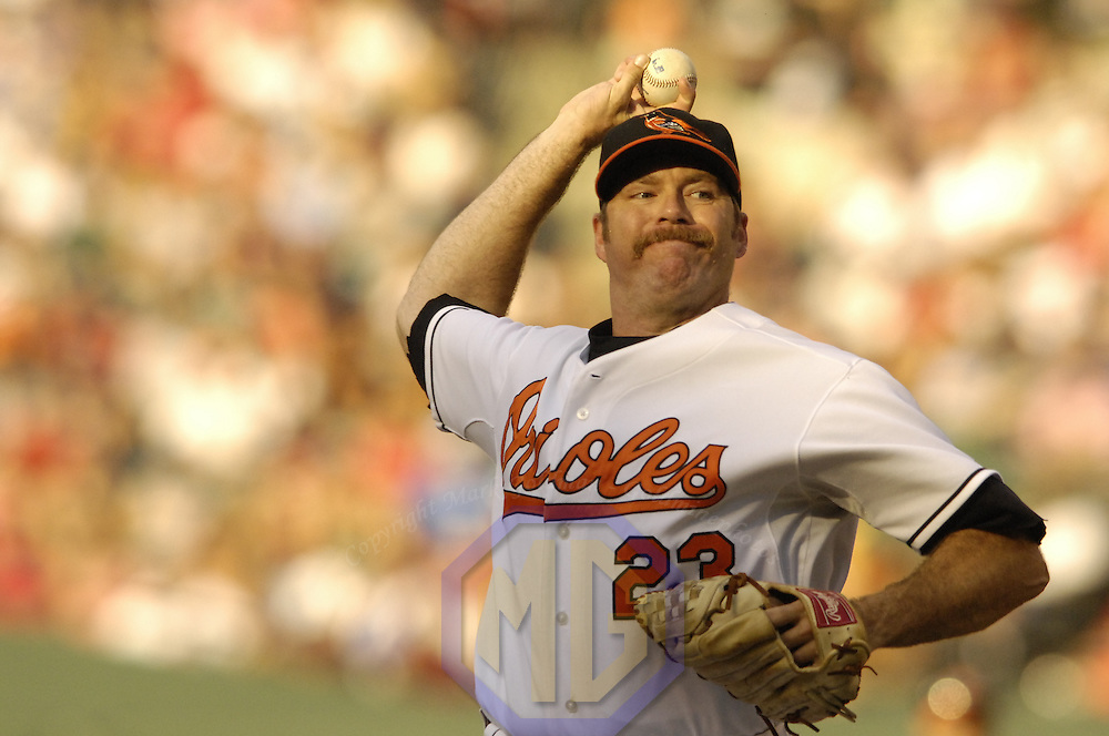 11 August 2007:  Baltimore Orioles pitcher Paul Shuey (23) in action against Boston Red Sox.  The Red Sox defeated the Orioles 6-2 at Camden Yards in Baltimore, MD.