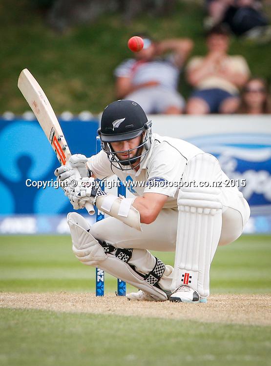 Kane Williamson bats. Fourth day, second test, ANZ Cricket Test series, New Zealand Black Caps v Sri Lanka, 06 January 2015, Basin Reserve, Wellington, New Zealand. Photo: John Cowpland / www.photosport.co.nz