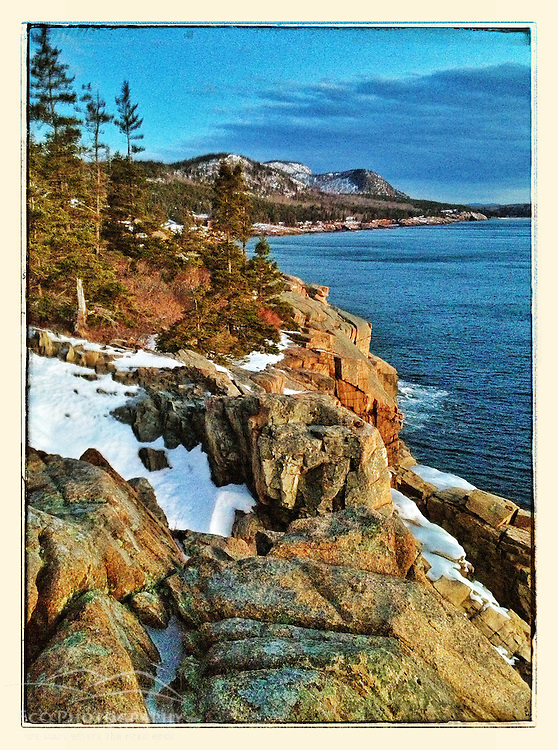"View from Otter Cliffs in winter before sunrise, Acadia National Park, Maine. iPhone photo - suitable for print reproduction up to 8"" x 12"","